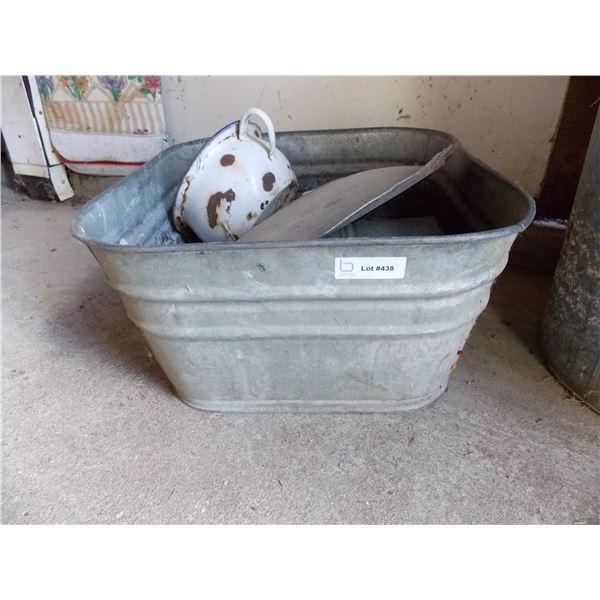 galvanized washtub with watering can + lard tin