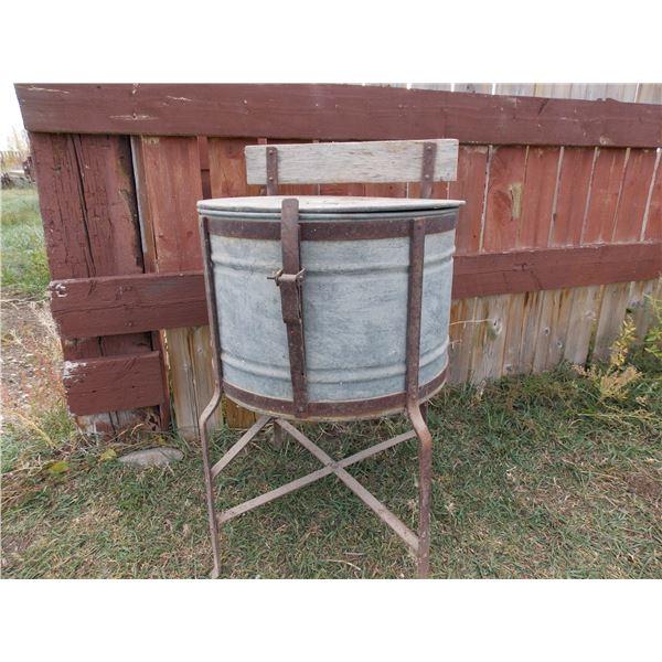 vintage galvanized wash tub on stand