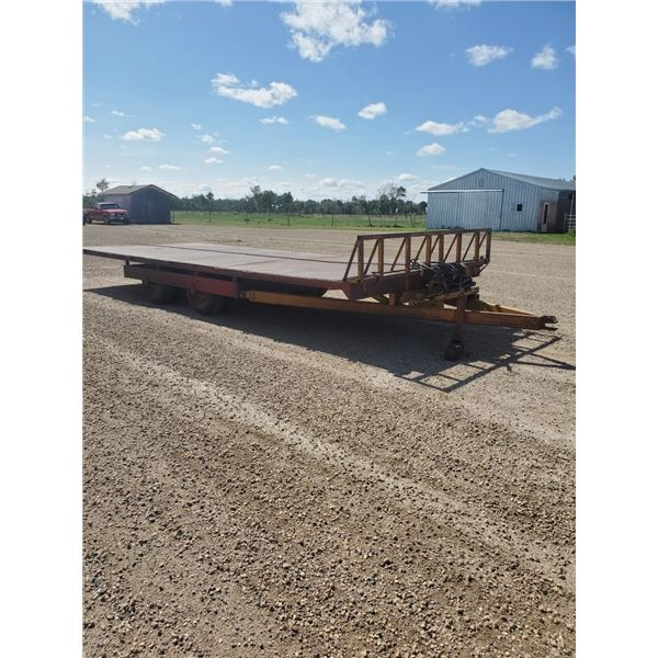 Bale Wagon Steel Deck - 10ft x 24ft - goodyear tires 11L-15 (Self Unloading Tilt Deck w/ Twin Cylind