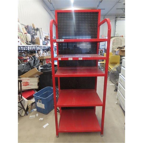 "Metal Shelf w Peg Board - 78"" x 30"" x 22"""