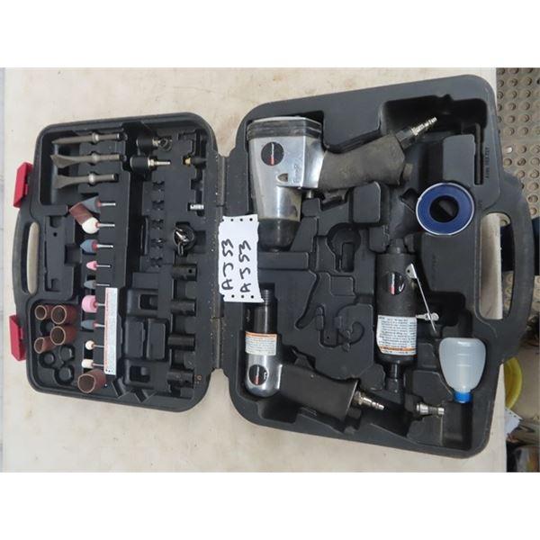"""Coleman Powermate Air Tools 1/2"""" Impact Chisel, Die Grinder, & Accessories w Case"""