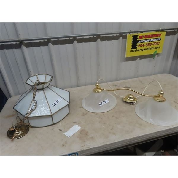 2 Light Fixtures - 1 Stained Glass