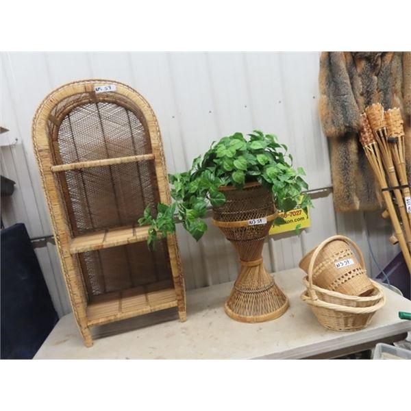 "Wicker Open Shelf 49"" x 22"" x 12"", Plant Stand 27"" H & Baskets"