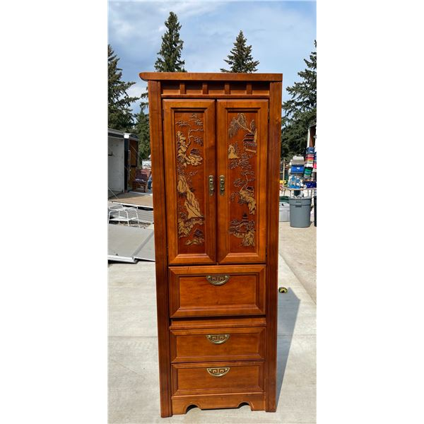 ORIENTAL STYLE SOLID WOOD CABINET WITH STORAGE