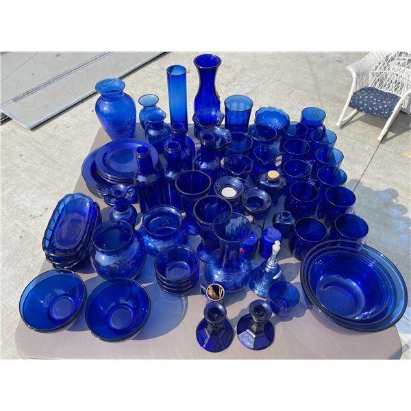 HUGE LOT OF COBALT BLUE GLASSWARE