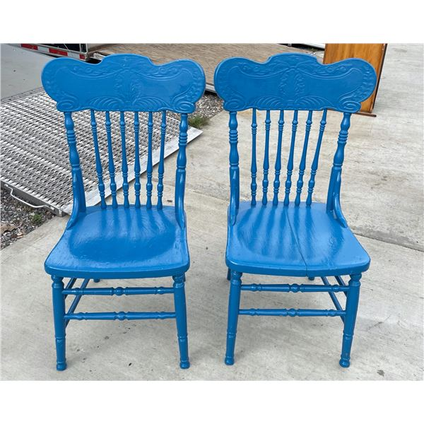 SET OF TWO, ANTIQUE, PRESSED BACK WOODEN CHAIRS
