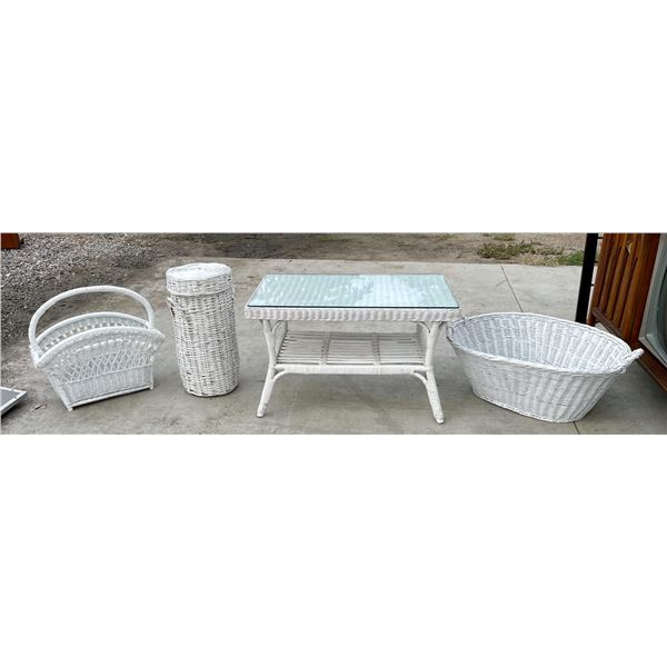 WHITE WICKER SET OF FOUR ACCENT PIECES TO INCLUDE COFFEE TABLE WITH GLASS TOP, WICKER BASKET, SMALL