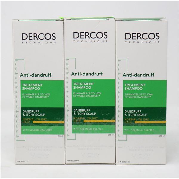 3 BOXES OF DERCOS ANTI-DANDRUFF TREATMENT SHAMPOO