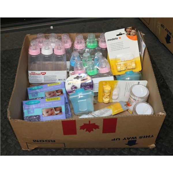 BABY CARE LOT INCLUDING BOTTLES, LOTION, & MORE