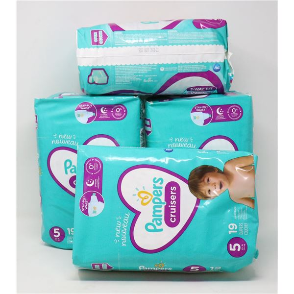 4 PACKS PAMPERS CRUISERS SZ 5 4 X 19 DIAPERS
