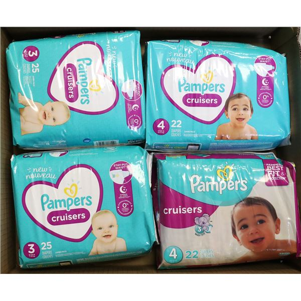 4 PACKS OF PAMPERS CRUISERS