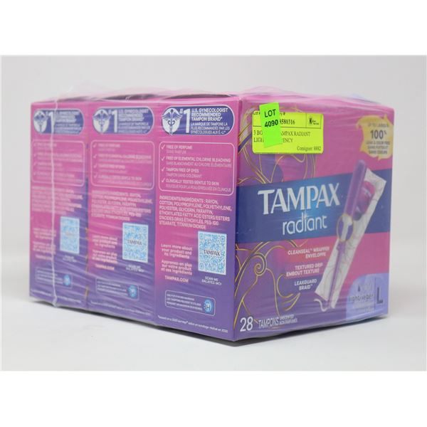 3 BOXES OF TAMPAX RADIANT LIGHT ABSORBENCY