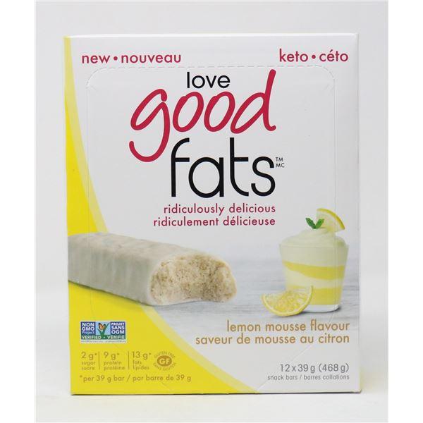 CASE OF GOOD FATS KETO SNACK BARS LEMON MOUSSE