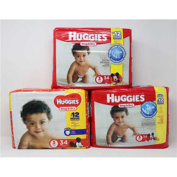 FLAT OF HUGGIES SNUGB& DRY SIZE 3