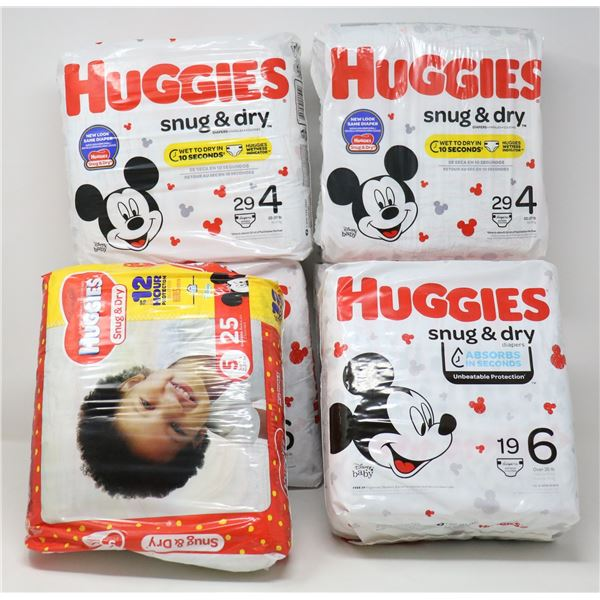 BOX LOT OF HUGGIES DIAPERS ASSORTED SIZES