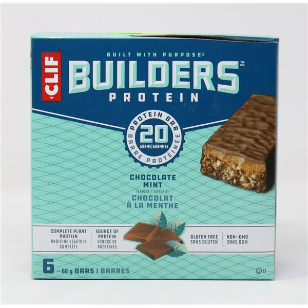 CASE OF CLIF CHOCOLATE MINT BUILDERS PROTEIN BARS