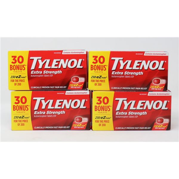 4 BOXES OF TYLENOL EXTRA STRENGTH