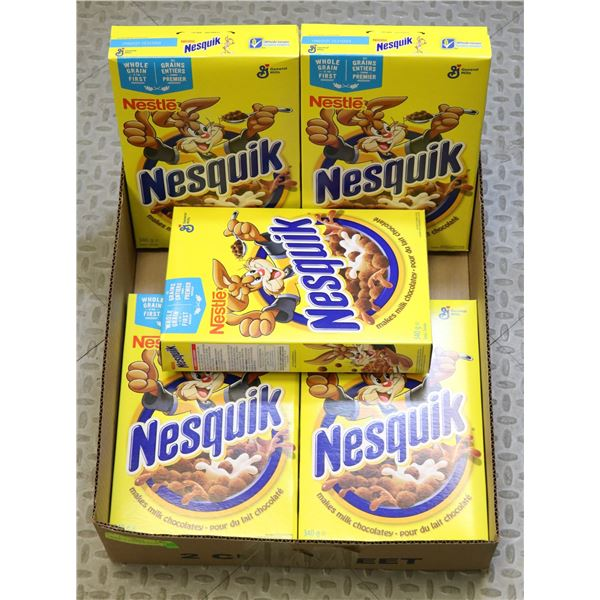 5 BOXES OF NESQUICK SUGAR CEREAL