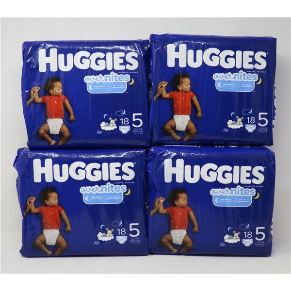4 PACKS OF HUGGIES OVERNIGHTS SIZE 5