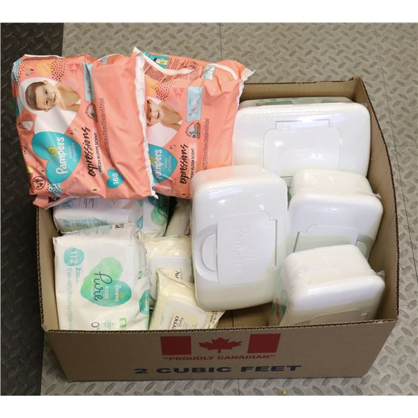 BOX LOT OF PAMPERS WIPES