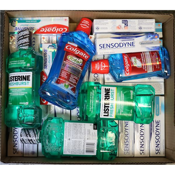 FLAT LOT OF TOOTHPASTE & MOUTHWASH