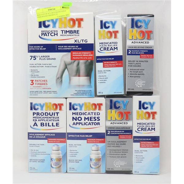 BAG LOT OF ICY HOT MEDICATED PAIN RELIEF PRODUCTS