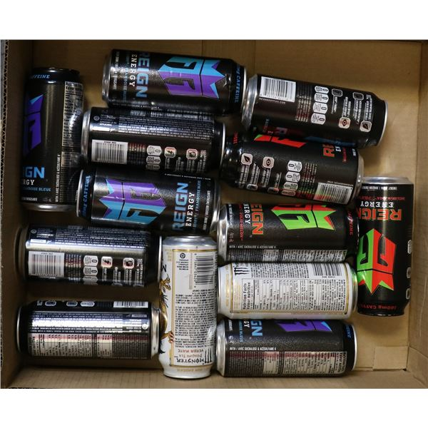 FLAT LOT OF ASSORTED ENERGY DRINKS
