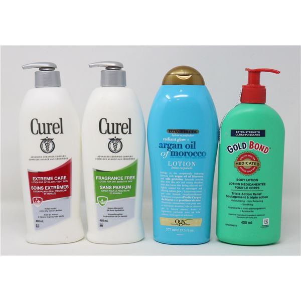 4 BOTTLES OF BRAND NAME LOTIONS & MOISTURIZERS