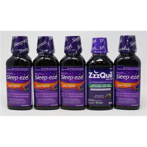 5 BOTTLES OF BRAND NAME SLEEP AID PRODUCTS