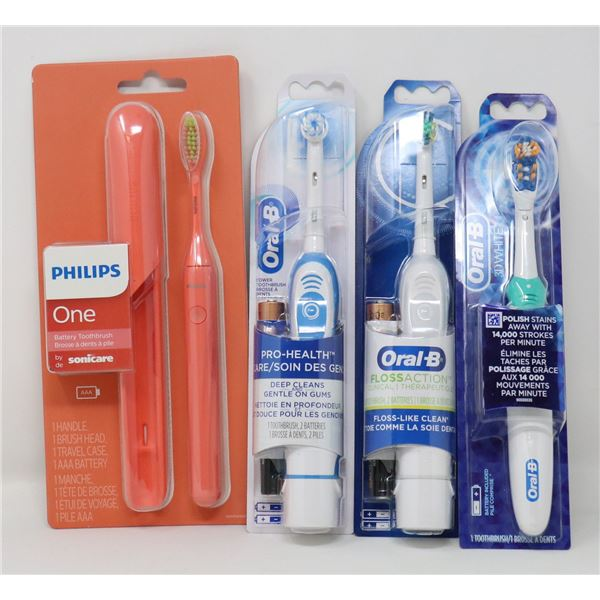 BUNDLE OF 4 ASSORTED ELECTRIC TOOTHRUSHES