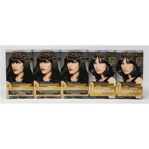5 BOXES OF LOREAL PREMIUM HAIR COLOUR