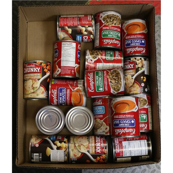 FLAT LOT OF ASSORTED CANNED FOODS