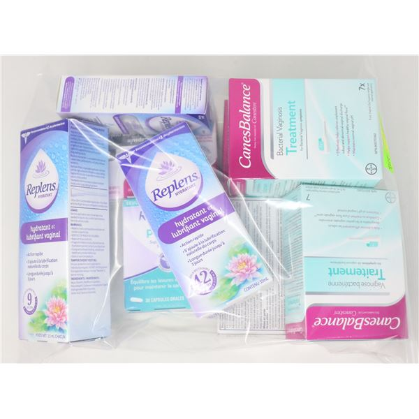 BAG LOT OF ASSORTED FEMININE HYGIENE PRODUCTS