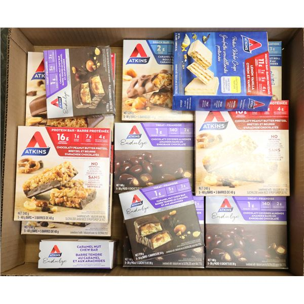 FLAT LOT OF ATKINS SNACK & PROTEIN BARS