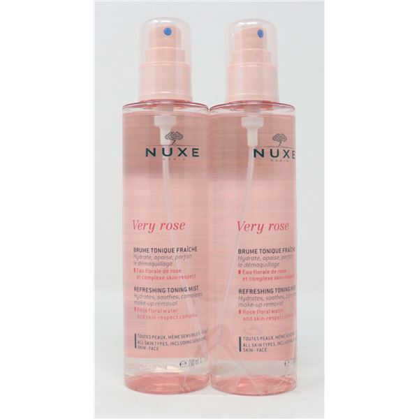 2 BOTTLES OF NUXE VERY ROSE REFRESHING TONING MIST