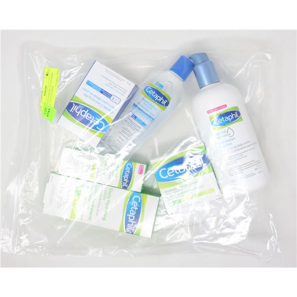 BAG LOT OF ASSORTED CETAPHIL PRODUCTS INCLUDING