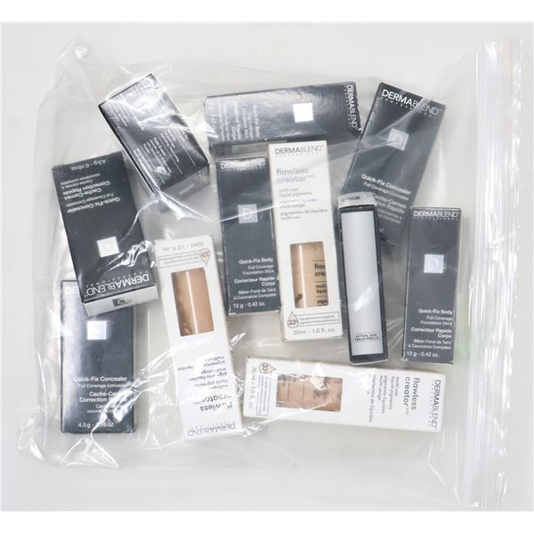 BAG LOT OF ASSORTED DERMABLEND COSMETICS