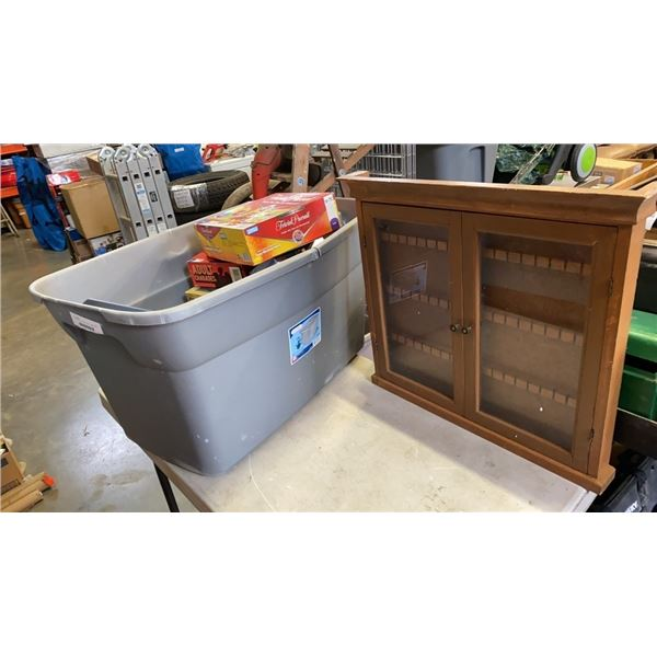 LARGE TOTE OF FAMILY NIGHT GAMES AND COLLECTOR SPOON DISPLAY CASE