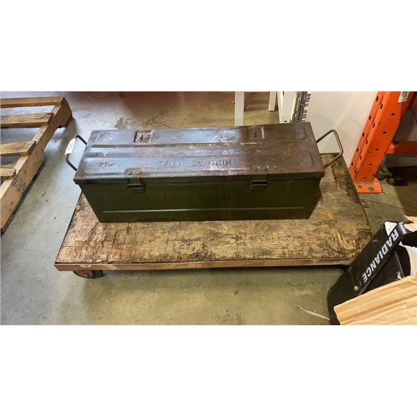 4 WHEEL DOLLY AND VINTAGE METAL BOX WITH SPECIALIZED WRENCHES FORGING TOOLS AND MORE
