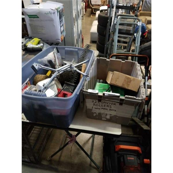 2 TOTES OF HEDGE TRIMMER, SIDE MIRROS TOOLS, CONVEYER ROLLERS AND MORE