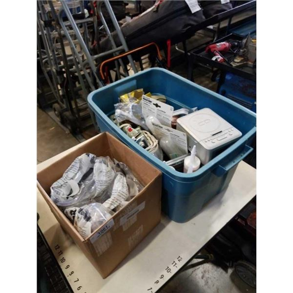 TOTE OF SHOP SUPPLIES AND BOX OF GOGGLES