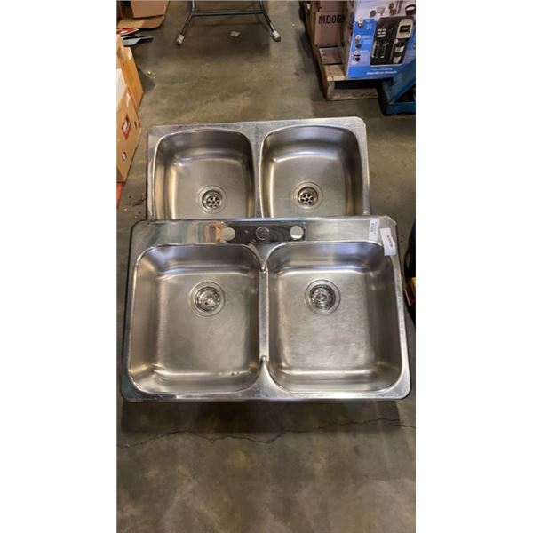 TWO DOUBLE STAINLESS SINKS
