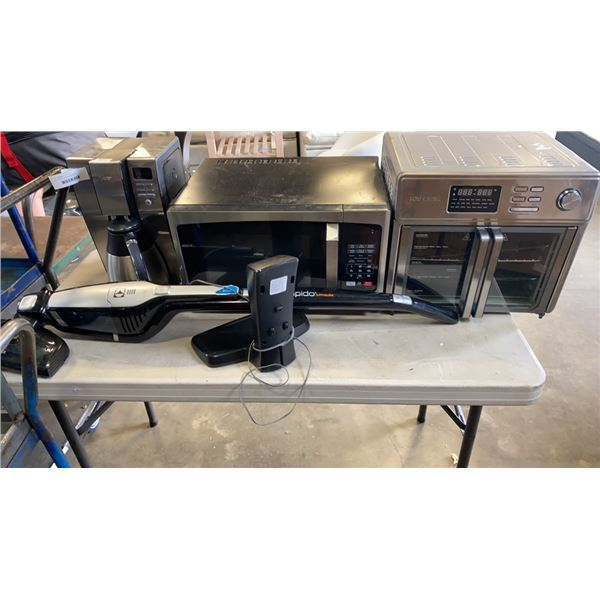 MICROWAVE, COFFEE MAKER, ERGO RAPIDO VACUUM AND TOASTER OVEN