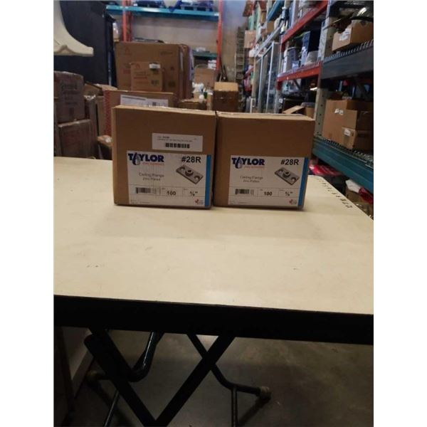 2 BOXES OF 100 ZINC PLATED CEILING FLANGES