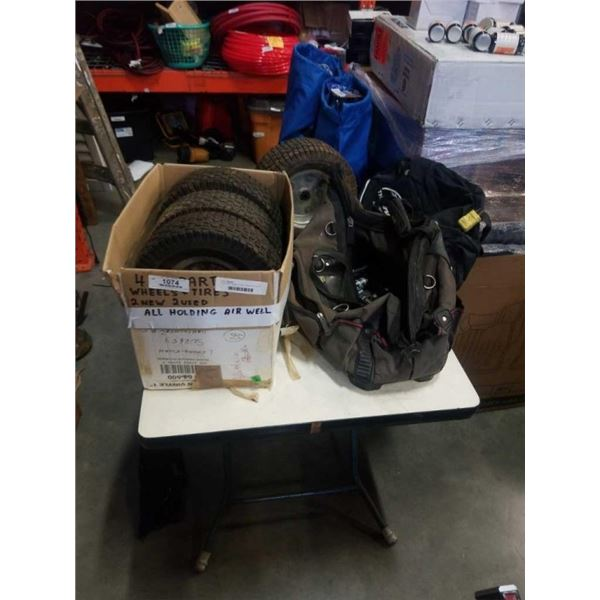 4 GO KART WHEELS WITH 2 BAGS OF TOOLS AND SOCKETS
