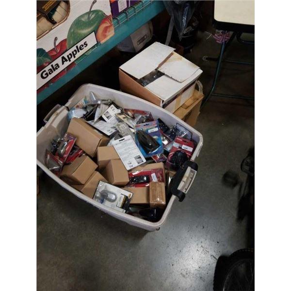 TOTE AND 2 BOXES OF CAR ANTENNAS, RIM DECORATIONS, ETC