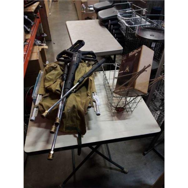 TRAIL CAMPER BACK PACK WITH PRESSURE WASHER GUNS, HOCKEY SKATES, MAIL BOX AND BIKE RACKS