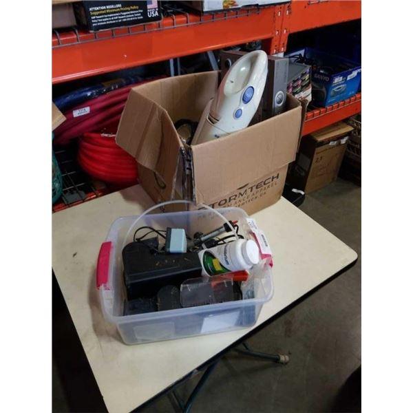 BOX AND BIN OF ELECTRONICS, FISH TANK ACCESSORIES