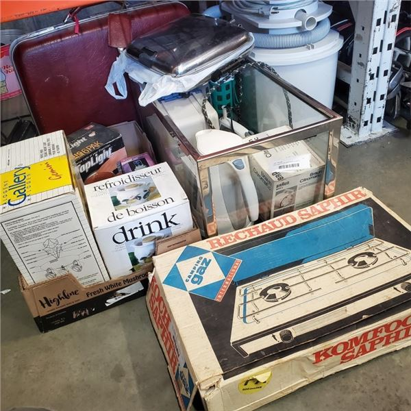 GAS CAMP STOVE WITH APPLIENCES, LEATHER SUITCASE AND BRINKS LOCK BOX NO KEY