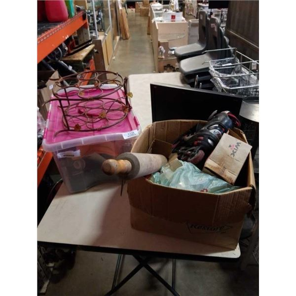 BOX AND TOTE OF VINTAGE COLLECTIBLES AND MORE
